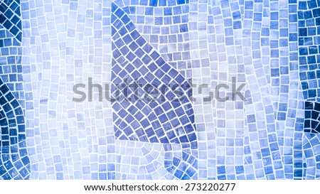 rough mosaic tile wall in bathroom - stock photo