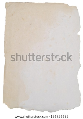 rough paper with torn edges over white - stock photo