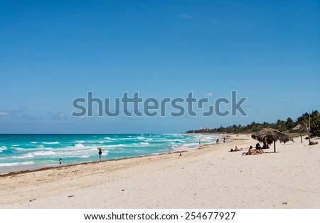 Rough Sea at Varadero Beach - stock photo