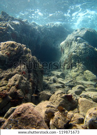 rough sea over an underwater canyon - stock photo