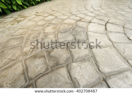 rough stone walkway,Stamped concrete - stock photo