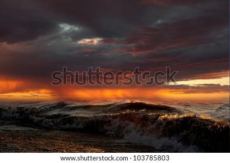 Rough Stormy Sea - stock photo