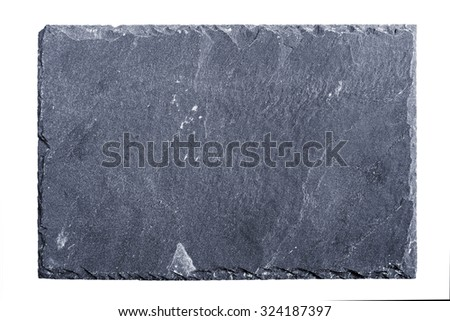 Rough textured slate board on white background - stock photo