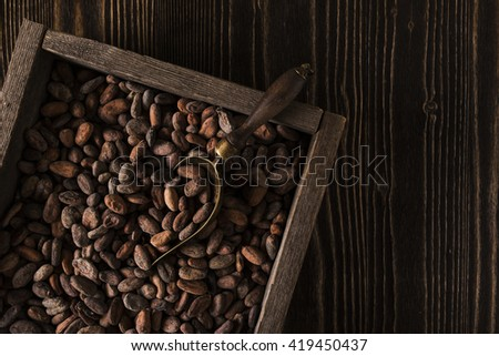 Rough wooden box with raw cocoa beans - stock photo