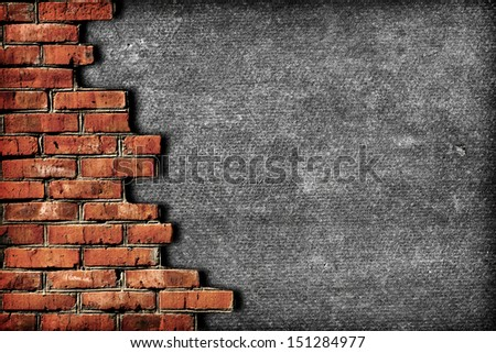 Roughened wall surrounded with bricks - stock photo
