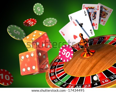 Roulette, cards and dices composition. Digital illustration. - stock photo