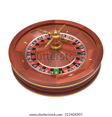 Roulette gambling on white background. Clipping path included. - stock photo