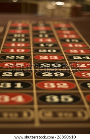 Roulette gambling table board photographed in Las Vegas Casino - stock photo