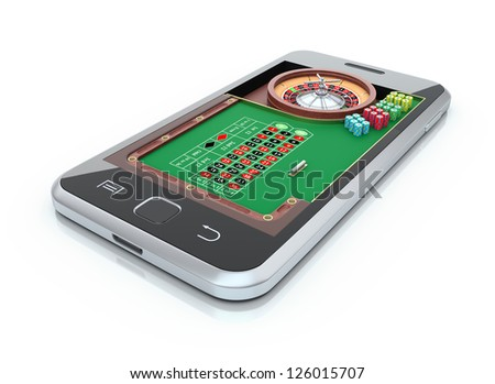 Roulette table in the mobile phone - stock photo