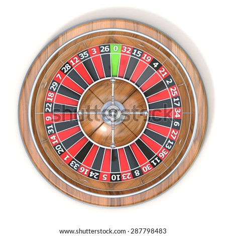 Roulette wheel. Top view. 3D render illustration isolated on white background - stock photo