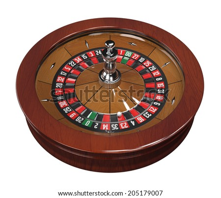 Roulette wheel with double zero. 3d modelled and isolated on white background, clipping path included. - stock photo