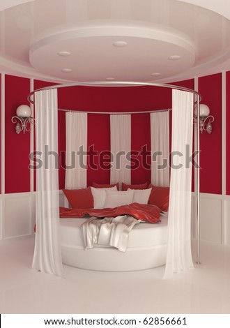 Round bed with curtain in modern interior - stock photo