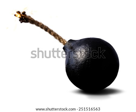 round black bomb with a burning wick rope - stock photo