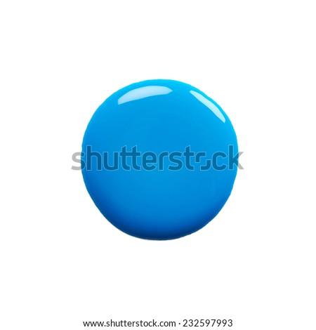 Round blot of blue nail polish isolated on white background - stock photo