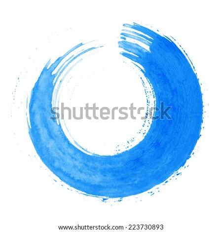 Round blue brush stroke - stock photo