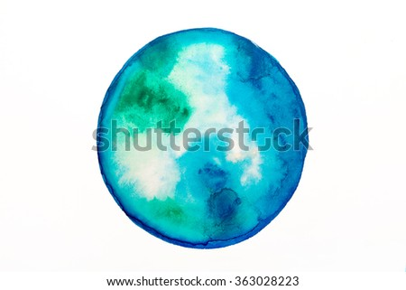 round blue spot water color similar to the planet earth - stock photo