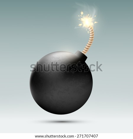 round bomb with a burning wick - stock photo