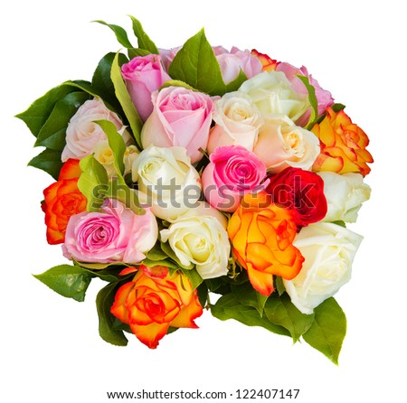 round bouquet of multicolored roses isolated on white background - stock photo