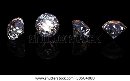 Round brilliant cut diamond perspective on black background - stock photo