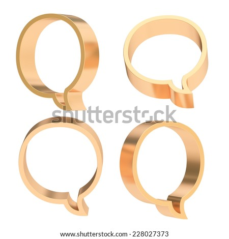 Round bronze metal text bubble dimensional shapes isolated over the white background, set of four foreshortenings - stock photo