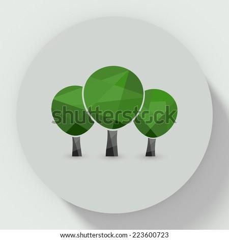 round button flat design with tree three icon - stock photo