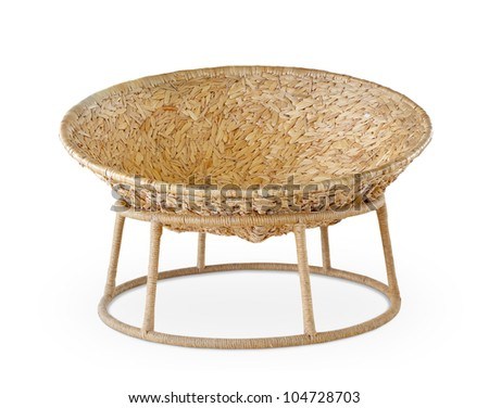 Round chairs made from Water hyacinth  on white background - stock photo