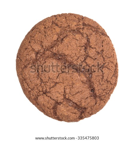 Round chocolate cookie isolated on white background. - stock photo