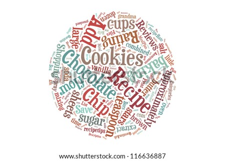 Round Chocolate cookies recipe in word collage - stock photo