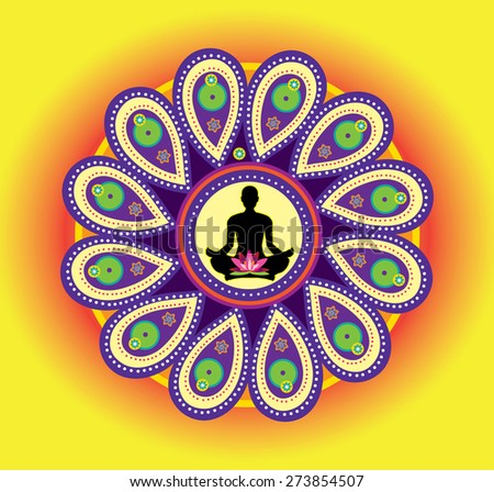 Round circle icon for yoga lotus sitting posture  - stock photo