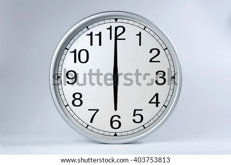 Round clock shows shows at 6 o'clock,  - stock photo