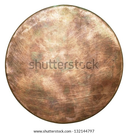 Round copper plate texture, old metal background. - stock photo