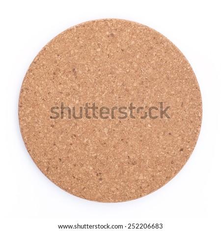 Round cork board. Isolated, on white background. - stock photo