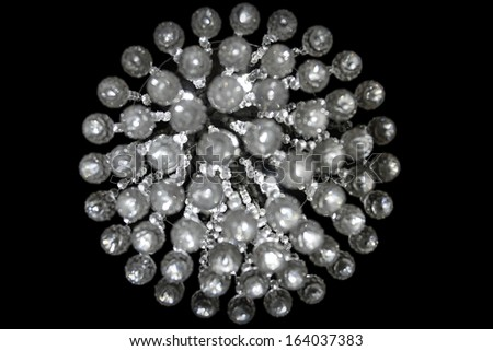 Round Crystal Pattern Isolated On Black - stock photo