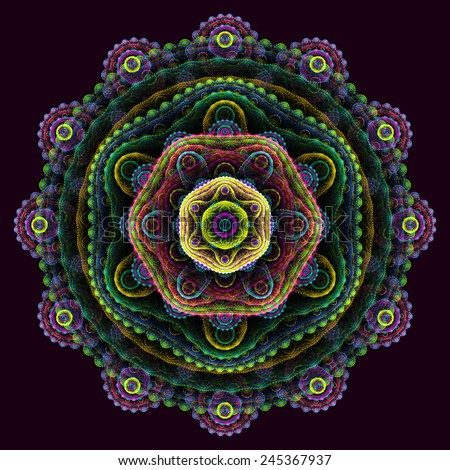 Round 3D mandala on purple background. Abstract multilayer round fractal. - stock photo