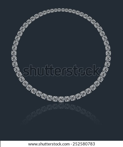 Round diamonds collier on a blue / colored background with reflection - stock photo