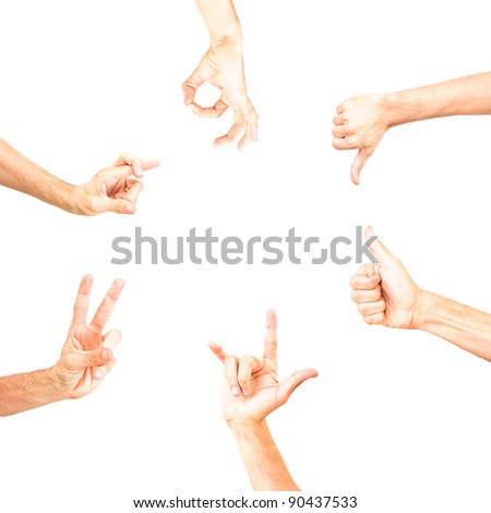 round empty space for text made with hands showing some signs ok no, positive, negative, voting, victory, all right thumb up gesture, gesturing, sign symbol, symbolic, fingers formed isolated on white - stock photo