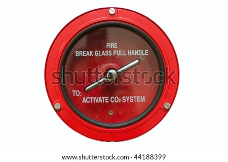 Round fire alarm switch. White isolated - stock photo