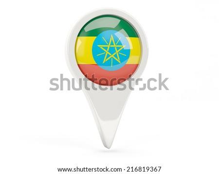 Round flag icon of ethiopia isolated on white - stock photo