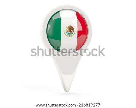 Round flag icon of mexico isolated on white - stock photo