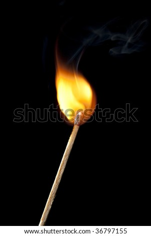 Round Flame on Match Stick - stock photo