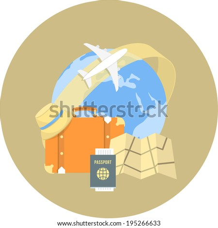 Round flat conceptual illustration of international travel by airplane - stock photo
