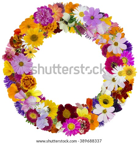 Round floral summer photo frame made from simple vivid fresh flowers. Isolated abstract collage - stock photo