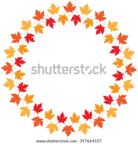 round frame from maple autumn leaves of different colors - stock photo
