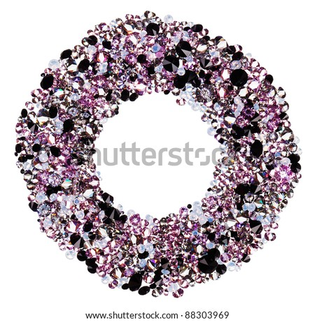 Round frame made from many small purple diamonds, isolated on white - stock photo