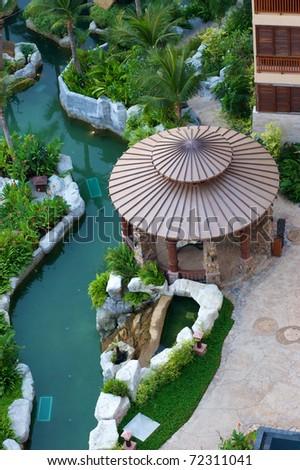 round gazebo by aquascape - stock photo