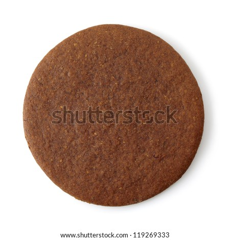 Round gingerbread cookie on white background - stock photo