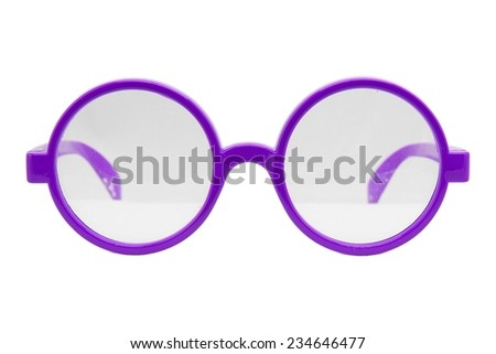 Round glasses isolated on white background, Modern sunglasses, Vintage sunglasses, Purple.  - stock photo