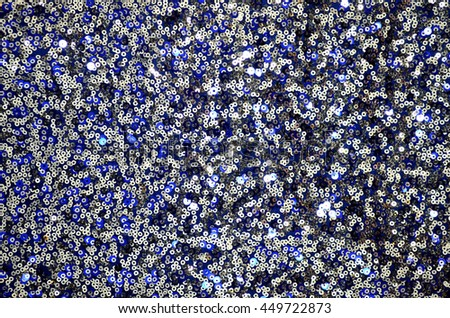 Round glitter silver and blue sequin texture - stock photo