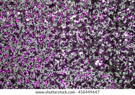 Round glitter silver and purple sequin texture - stock photo