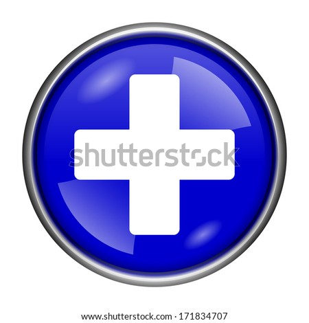 Round glossy icon with white design on blue background - stock photo
